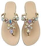 Hinyyrin Flip Flops for Women,Beach Wedding Sandals,Colorful Gemstone Sandals,Ladies Beach Sandals Size 8.5 Gold