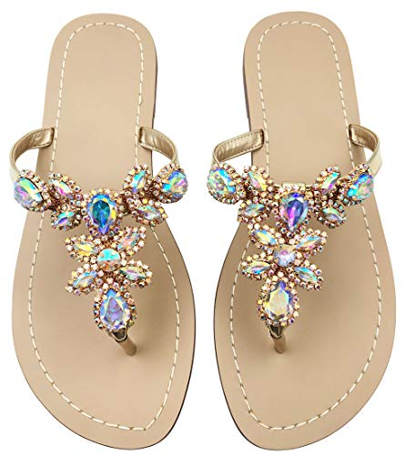 Rhinestones Sandals Ladies - Rhinestone Sandals for Women,Jeweled Hand Crafted Crystal Flats Sandals,Thong Sandals,Ladies Size 9 Gold