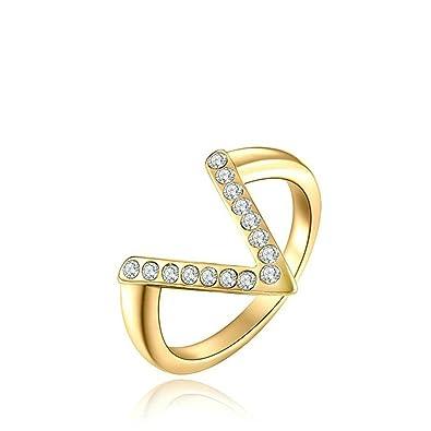 Epinki Damen Ringe Vergoldet Verlobungsringe V Form Cubic Zirkonia