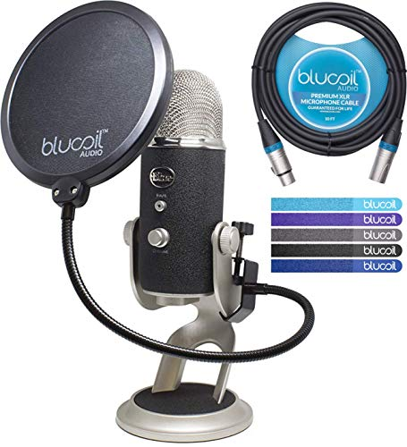 - Blue Microphones Yeti PRO XLR & USB Condenser Microphone Bundle with Blucoil Pop Filter, 10-Ft XLR Cable and 5-Pack of Reusable Cable Ties