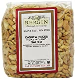 Bergin Nut Company Cashew Pieces Large, Roasted Salted, 16-Ounce Bags (Pack of 2)