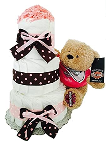 Pink Harley Davidson Baby Girl Diaper Cake (3 Tier)   Baby Shower  Centerpiece/