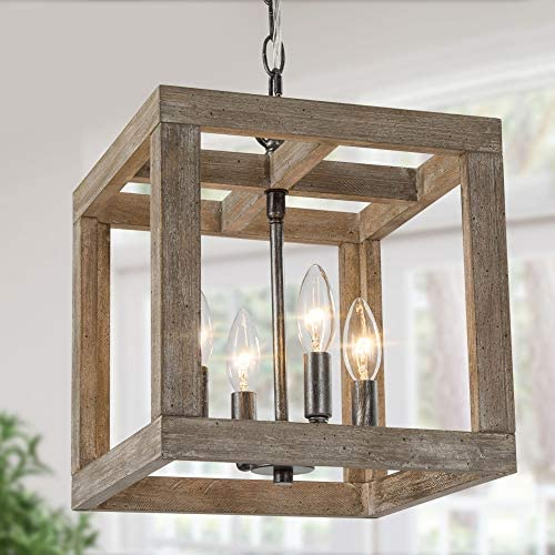 Farmhouse Chandelier Pendant Lighting For Kitchen Island 4 Light Lantern Square Chandelier With Weathered Brown Wood 11 W