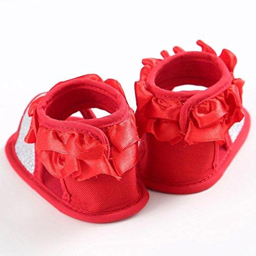 Hunpta Baby Sandalen Kleinkind Prinzessin erste Wanderer Blumenmädchen Kind Schuhe (Alter: 6 ~ 12 Monate, Weiß) Rot