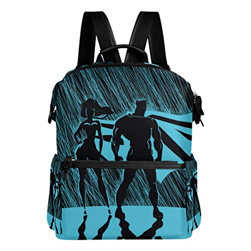 (TARTINY Superhero Couple Male Female Superheroes Posing Laptop Backpack Leather Strap School Bag Outdoor Travel Casual Daypack )