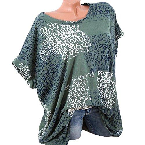 L nbsp;X Taille Diadia manches femme sexy femme Lettre tendance pour Chemisier Green TOPS plus Chemises 5 pour poche courtes S de Imprim RffgqH