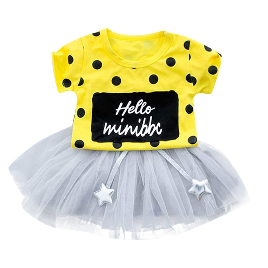 Stelle Netto Filato Tutu Gonna Completo Jimmackey Neonata Bambine Manica Corta DOT T-Shirt Lettera Stampa Cime