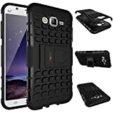 Heartly Flip Kick Stand Spider Hard Dual Rugged Armor Back Case Cover For Samsung Galaxy J7 Sm-J700F 2015 - Rugged Black