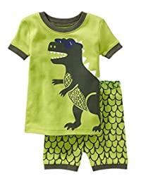 "Babyroom ""Dinosaur"" Boys'2 Piece 100% Cotton Short Pajama Set Size 2T-10T"