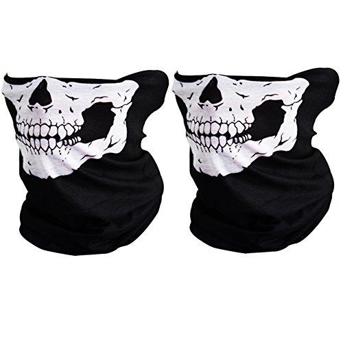 CIKIShield Couples Seamless Skull Face Tube Mask Black (2pcs-white) (White Face)