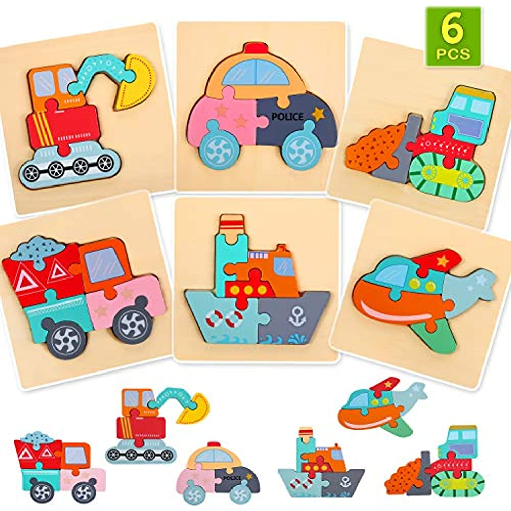 6 Pack Wooden Jigsaw Puzzles, Educational Toys Toddler ...