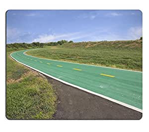 Mouse Pad Natural Rubber Mousepads Green bicycle track with right curve and yellow line 28291308