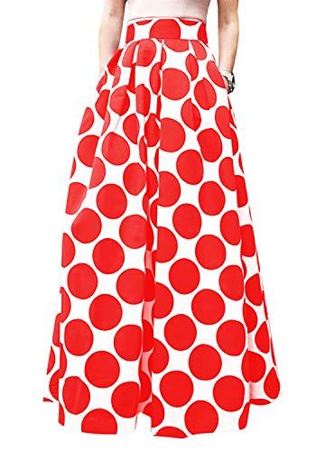 Women African Summer Print Pleated High Waist Maxi Skirt Casual A Line Skirt(Purple Geometric), ()
