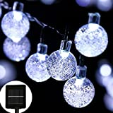 easyDecor Globe Solar String Lights 30 LED 21ft 8 Mode Bubble Crystal Ball Christmas Fairy String Lights for Outdoor Xmas Landscape Garden Patio Home Holiday Path Lawn Party Decoration (White)