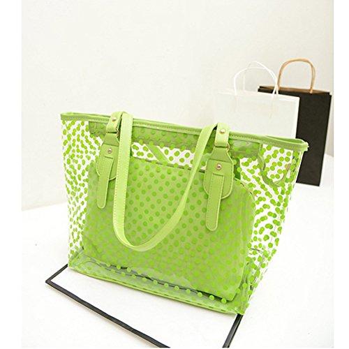 Tinksky Transparente Tasche Handbag 2-Tasche Punktmuster mit Reißverschluss Tote Tasche (Grün)