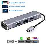 USB Type C to HDMI Digital AV Multiport Adapter, USB-C (USB 3.1) Hub 4K with USB 3.0 USB 2.0 Portable Dock for Nintendo Switch, Samsung S8 / S9+(Plus) Dex Station, 2016 / 2017 Macbook Pro - Silver