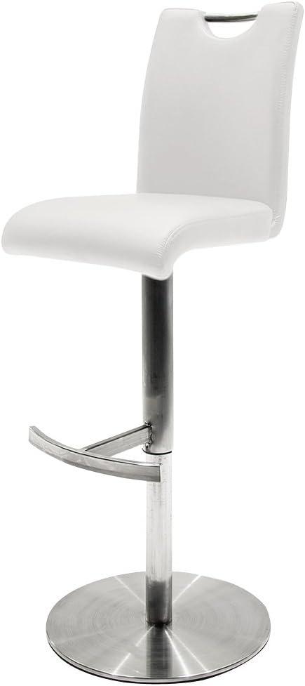Robas Lund taburete Alesi Cappuccino / Marrón / Blanco / Negro de acero inoxidable cepillado 42x91-116x51 cm
