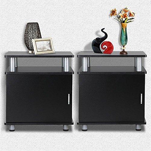 go2buy Set of 2 Black Wood Bedroom Nightstands End Tables with Storage Bedside Cabinet with Door and Shelf
