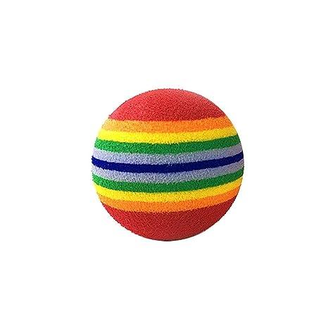 Pelota de juguete para gato Pawaca, pelota de arcoíris de 1,65 pulgadas, espuma EVA, ...