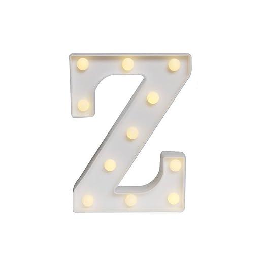 Mystery&Melody LED letra decorativa lámpara luz LED alfabeto blanco sólido letras para fiesta boda decoración luz (Z)
