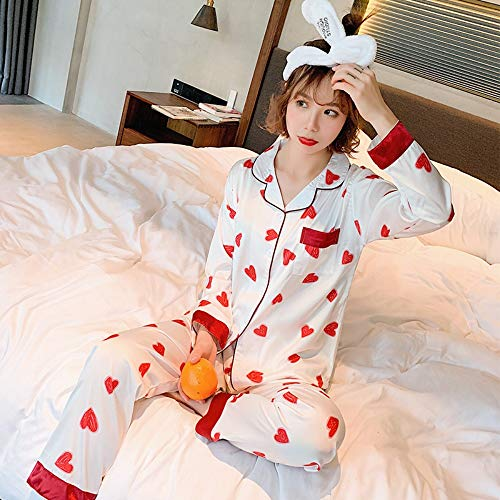 Conjunto Estampado Pijama L Con Ahsxl Niña M Dormir Camisón Ropa Mujer Traje Para Seda Manga De Larga pq5dqw