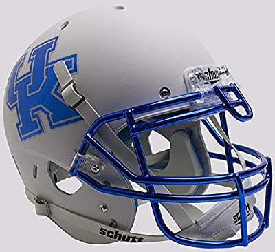 Kentucky Wildcats Authentic College XP Football Helmet Schutt Matte White Chrome Mask - Licensed NCAA Merchandise