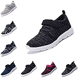 DEDU Kids Casual Lightweight Breathable Velcro Sneakers Easy walk Sport Shoes for Boys Girls