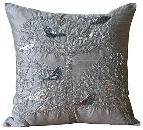 Pillow Pigeon - The HomeCentric Designer Grey Pillow Covers, Sequins & Beaded Pigeon Pillows Cover, 18