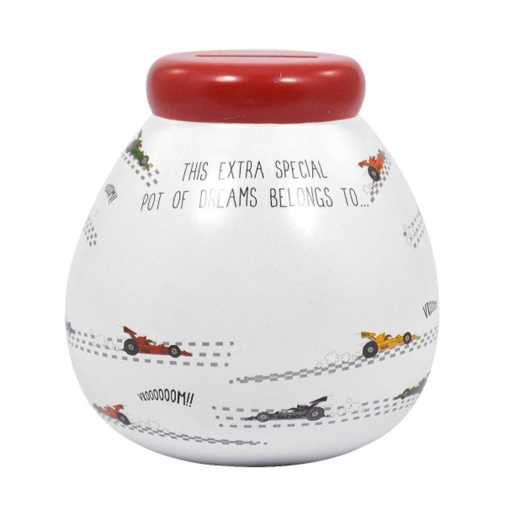 Pot Of Dreams - Personalised Child's Racing Cars Money Pot With Gold Stickers Xpressions