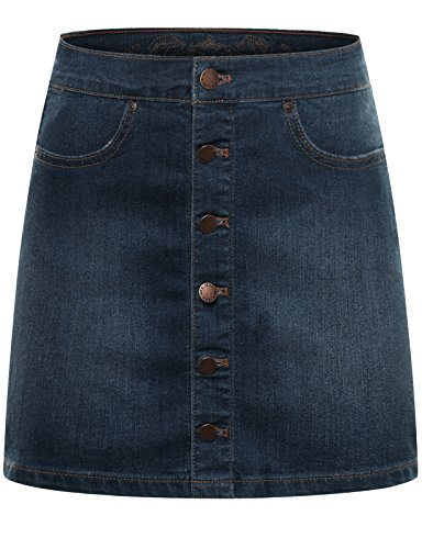 Dark Denim Mini Skirt (THENEWNEW Womens Front Button Down Mini Skirt DARK)