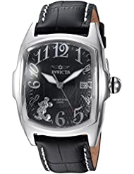 Invicta Mens Disney Limited Edition Quartz Stainless Steel and Leather Casual Watch, Color:Black (Model: 25022)