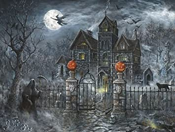 Uninvited Guest Halloween 500 pc Jigsaw Puzzle Halloween Pumpkin Trick or Treat