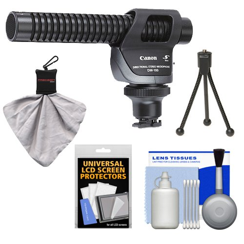 Canon DM-100 Directional Stereo Microphone + Mini Spudz & Cleaning Kit for VIXIA HF M52, M50, M500, M50, M400, M301, M300, M41, M40, M32, M31, M30, S30, S200, S21, S20, G10, G20 Camcorders (Canon Directional Stereo Microphone)