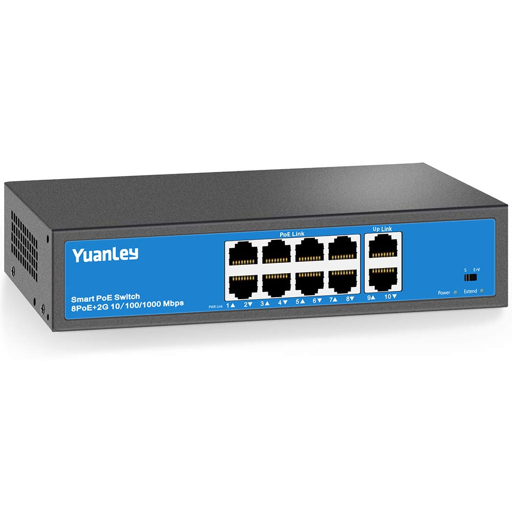 YuanLey 8 Port PoE Switch, 2 UpLink Gigabit, PoE Plus 802.3af/at, 120W Built-in Power, Vlan Up to 250m, Metal Plug & Play Network Switch by YuanLey
