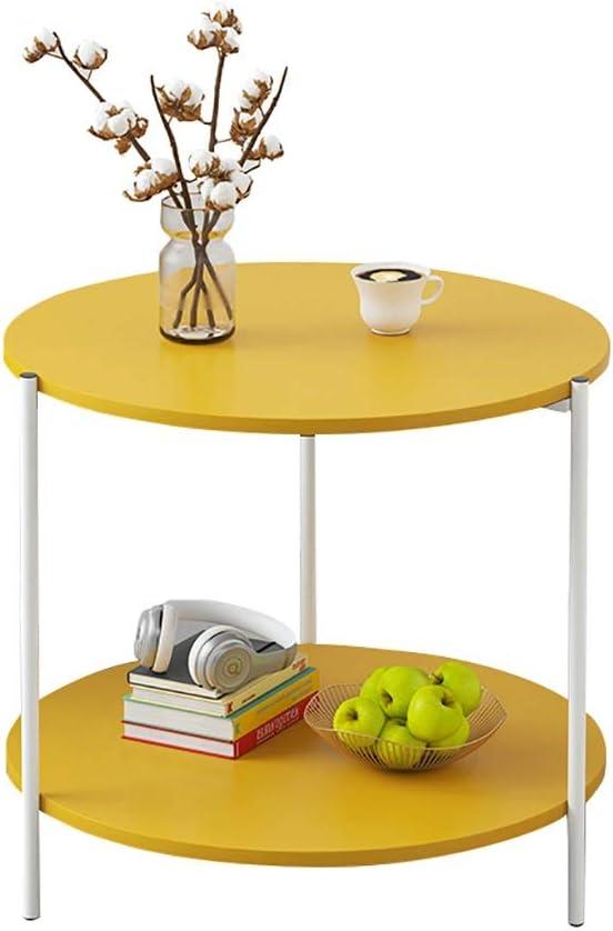 Verken Saladplates-LXM Design bijzettafel, salontafel, bijzettafel, met 2 lagen, opbergplank, nachtkastje, voor woonkamer, ronde tafel, kleine ruimtes, 39,5 x 42 cm A tGa5Gae