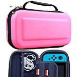 Makion Nintendo Switch Case,Hard Shell EVA Carrying Tough Pouch and Game Traveler Case for Nintendo Switch (Pink)