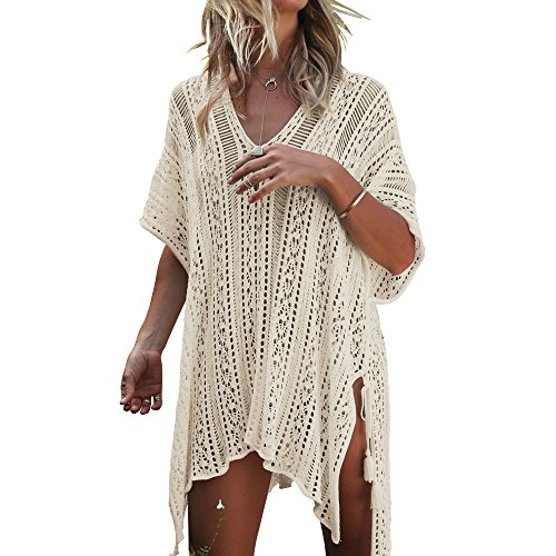 Women Summer Crochet Beachwear White - 1