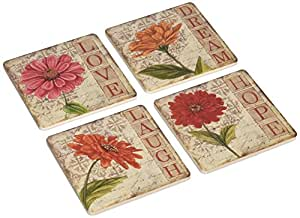 "CoasterStone AS4010 Absorbent Coasters, 4-1/4-Inch, ""Vintage Zinnias"", Set of 4"