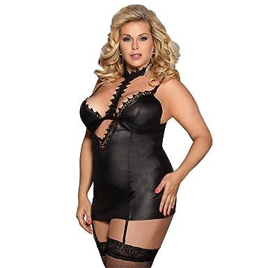 ea449d366 ohyeah Women Plus Size Teddy Faux Leather Garter Lingerie Slip with Lace  Choker at Amazon Women s Clothing store