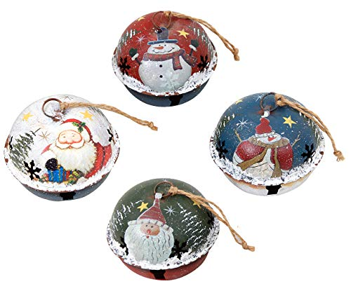2.5 Inch Snowman Bell Ornament - Attraction Design Christmas Jingle Bell Hanging Ornament Set of 4, 3X2.5 Inch Rustic Christmas Tree Snowman Decoration Bell Ornament Wall Door Hanging Decoration Party Decor Xmas Gifts (Jingle Bell B)