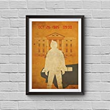 Back to the Future Part 1 Minimalist Poster A Robert Zemeckis Alternative Movie Print Michael J. Fox Marty McFly clock tower delorean Illustration Cinema Home Decor Artwork Wall Art Hanging Cool Gift