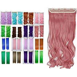 Ash Pink Clip in Synthetic Hair Extensions Hair-pieces Clip on 24 Inches Curly Wavy Full Head with 5 Clips
