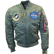 Alpha Industries Mens Sage Green MA1 NASA Retro Flight Pilot Bomber Jacket