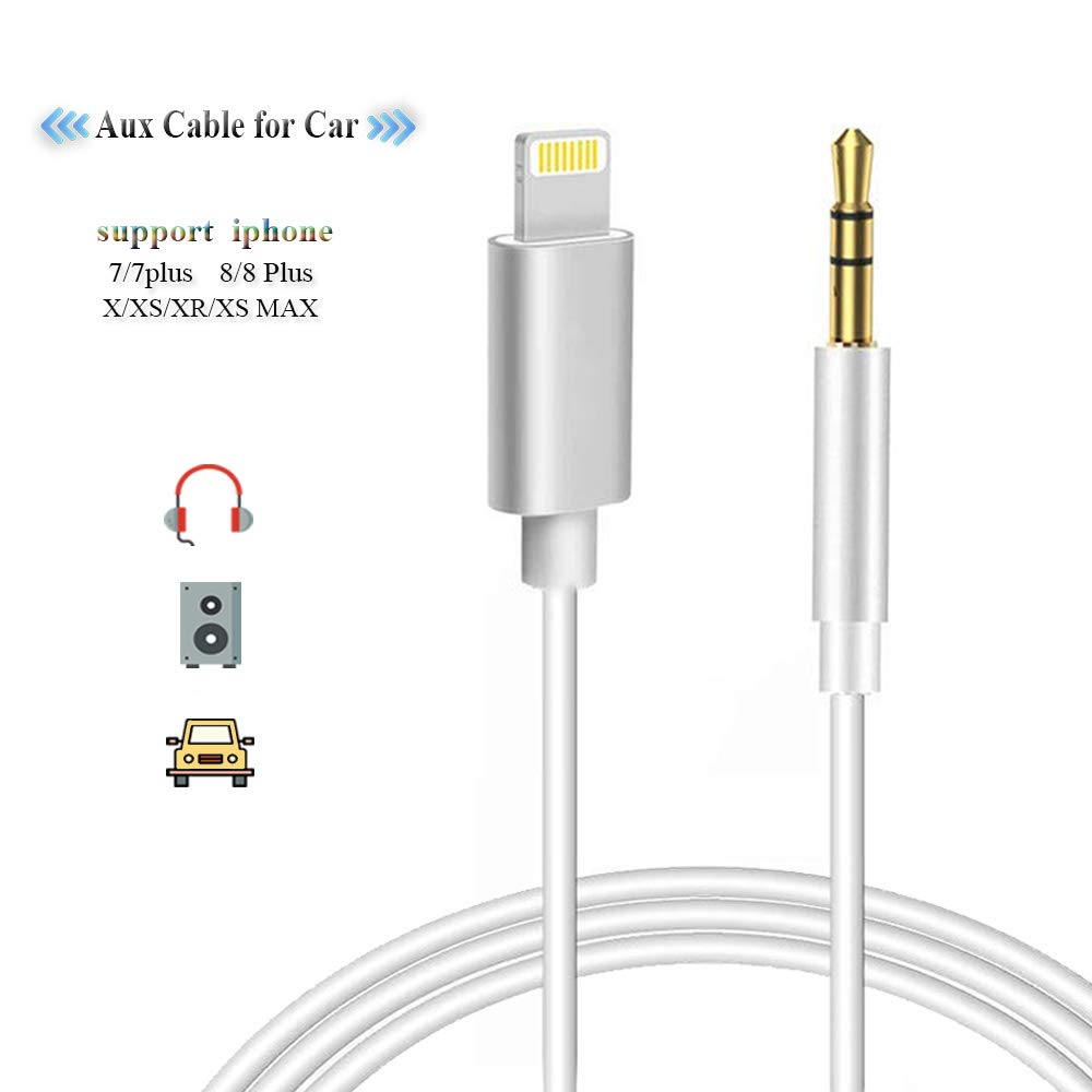 quality design 8f7bb b3b70 Aux Cord Compatible with iPhone Xs XR X 8 7 Plus, Aux Cable Compatible with  iPhone 7/X/8/8 Plus/XS Max/XR, 3.5mm Audio Cable to Play Music with Car ...