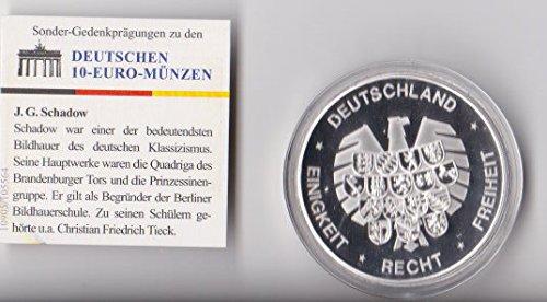 Btn Gedenkprägung Zu Den Deutschen 10 Euro Münzen 250 Geburtstag