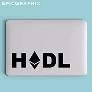 ETH Hodl Laptop Decal in Black 10 inches