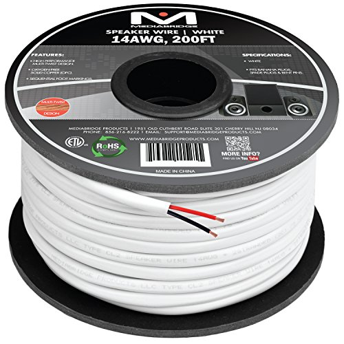 Custom Installation Speaker Cable - Mediabridge 14AWG 2-Conductor Speaker Wire (200 Feet, White) - 99.9% Oxygen Free Copper - ETL Listed & CL2 Rated for In-Wall Use (Part# SW-14X2-200-WH )