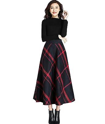 c557b3ab45 Femirah Women's High Waist Woolen A Line Skirt Long Maxi Winter Skirt  (Waist: 64cm