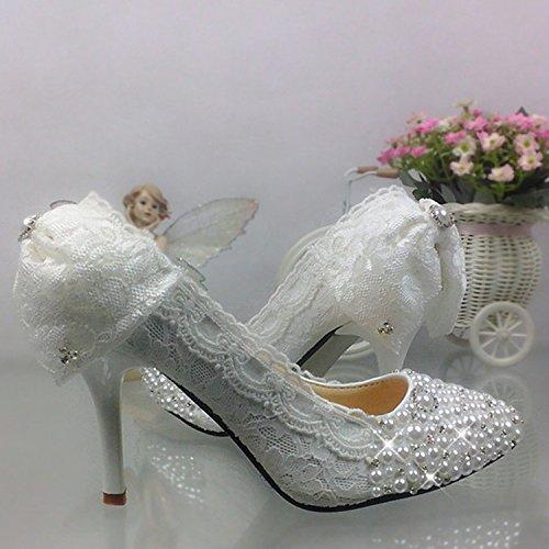 profonda ad Nuziale alta scarpe Pizzo Pearl con bocca scarpe bianco prua Diamante JINGXINSTORE poco cristallo appuntita Bianco matrimonio aw6HC4z4qx