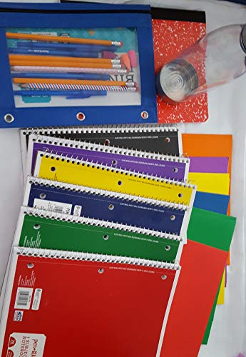 Back to School Boy Supply Bundle: 28 items: 6 folders with brads, 6 notebooks, 1 composition book, 1 binder pouch, 4 pens, 4#2 pencils, 2 fun pencils, 3 erasers, and a water bottle